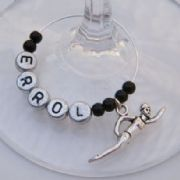 Swimmer Personalised Wine Glass Charm